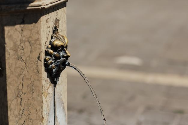 Close de uma fonte com cabeça de leão de bronze na itália.