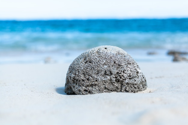 Close de uma grande pedra cinza na praia