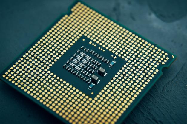 Close do conceito de inovação de tecnologia do foco seletivo do processador do computador do chip da cpu