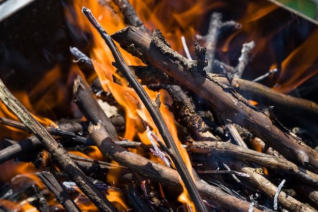 Close dos galhos queimando no fogo