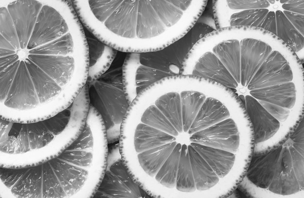Close em preto e branco de rodelas de limão