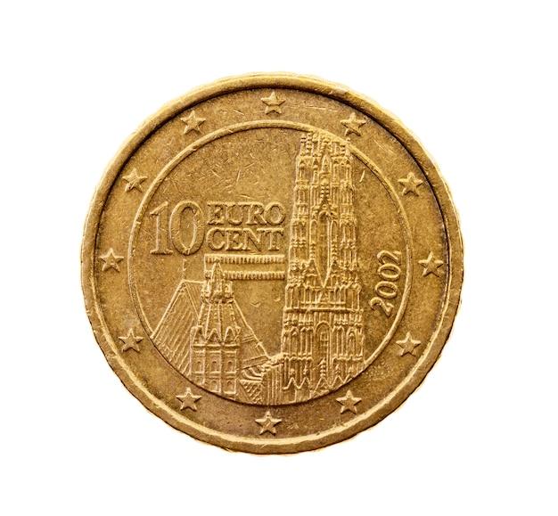 Close fotografado em moeda branca de dez centavos de euro
