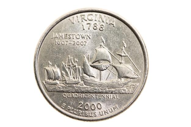 Close fotografado em moeda branca dólar americano 25 centavos de dólar, virgínia