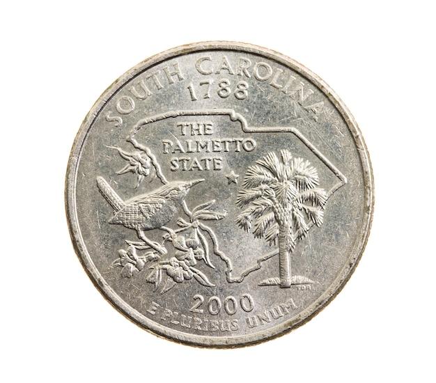 Close fotografado em moeda branca dólar americano 25 centavos de dólar