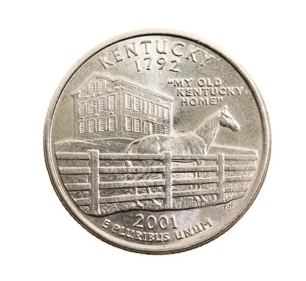 Close fotografado em moeda branca dólar americano 25 centavos, kentucky
