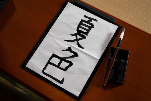 Close na pessoa fazendo caligrafia japonesa, chamada shodo