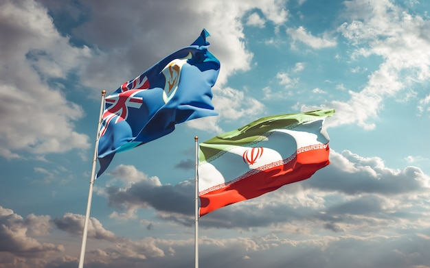Close nas bandeiras do irã e anguila