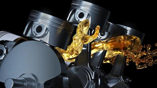 Close no conceito de óleo de motor lubrificado