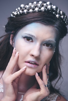 Close no rosto da rainha da neve
