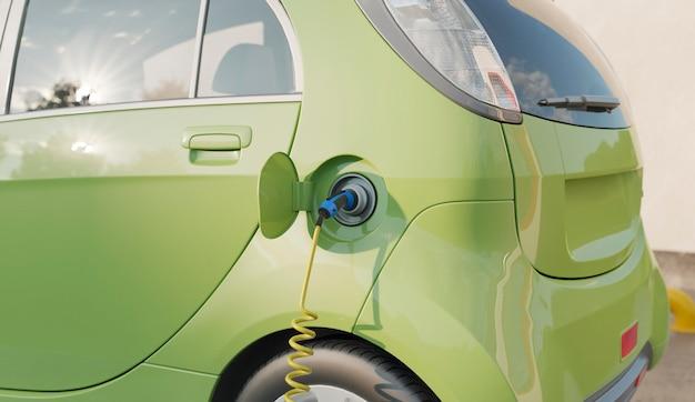 Close-up 3d do modelo de carro elétrico carregando