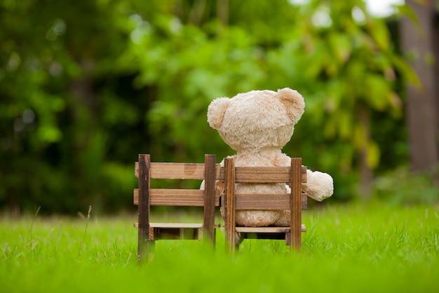 Close up adorável ursinho sente-se na cadeira de madeira