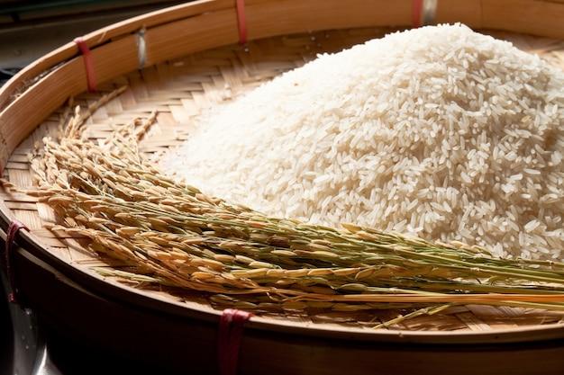 Close up alimento básico branco de madeira