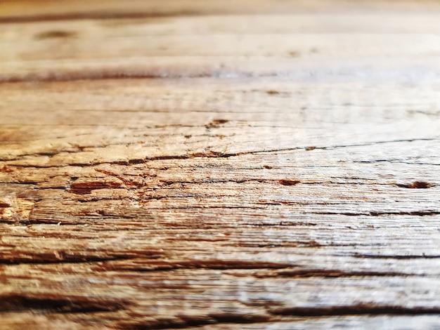 Close-up, antigas, tabela madeira, com, raspado granulado, textura, com, foco seletivo