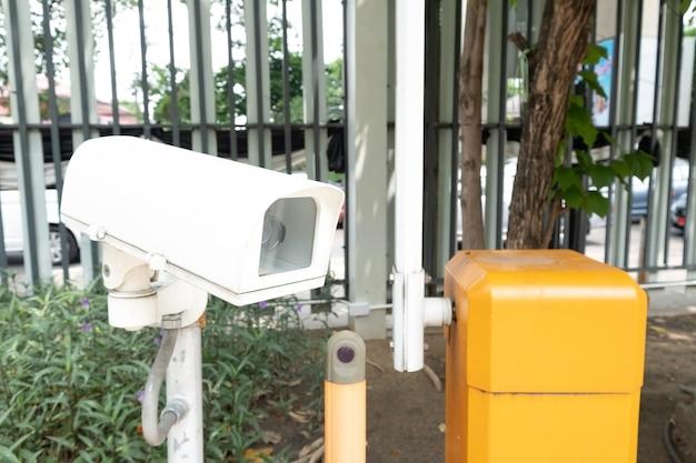 Close-up câmera de circuito fechado ou televisão de circuito fechado (cctv) gravando eventos importantes.