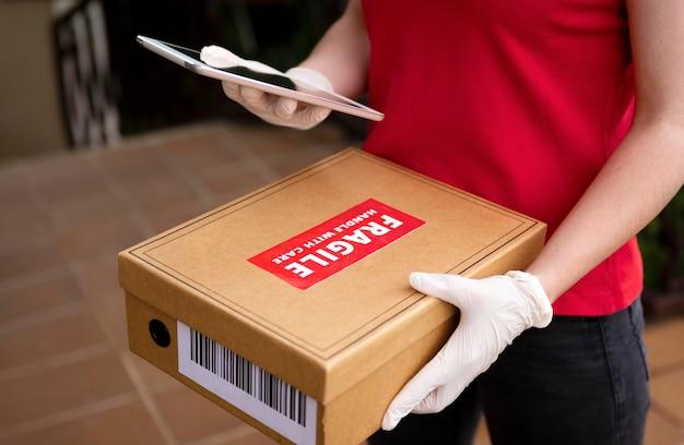 Close-up conceito de entrega em domicílio