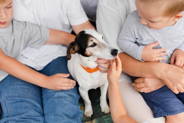 Close-up crianças acariciando cachorro