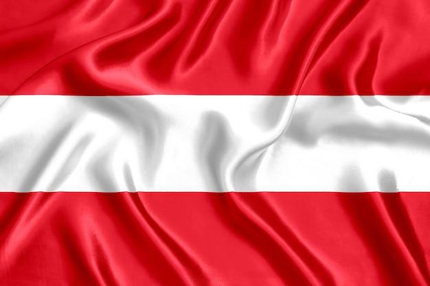 Close-up da bandeira da áustria em seda