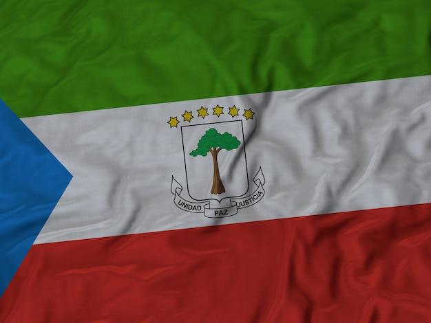 Close-up da bandeira da guiné equatorial ruffled