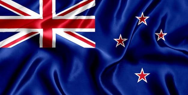 Close-up da bandeira da seda da nova zelândia