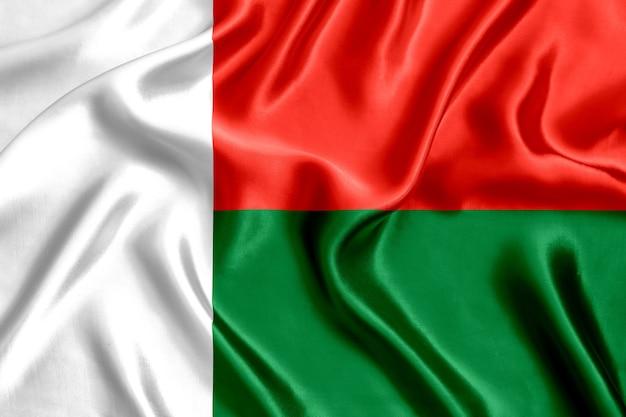 Close-up da bandeira de seda de madagascar