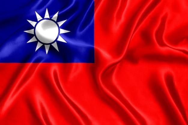 Close-up da bandeira de seda de taiwan