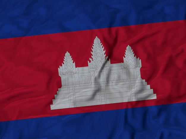 Close-up da bandeira do camboja com babados