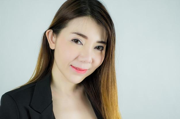 Close-up da bela empresária asiática