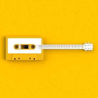 Close-up da cassete de fita de áudio vintage com ilustração de conceito de guitarra acústica