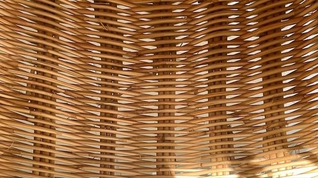 Close up da cesta com rattan, superfície de textura de rattan bonita, padrão de rattan.