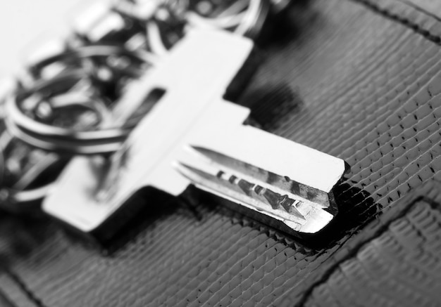Close-up da chave da casa em suporte de couro