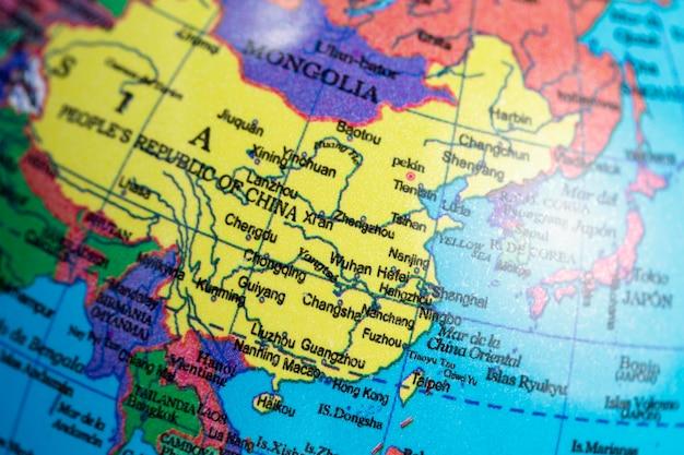 Close-up da china no globo da terra