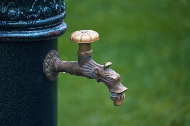 Close-up da coluna de estilo antigo com parque de água potável em público