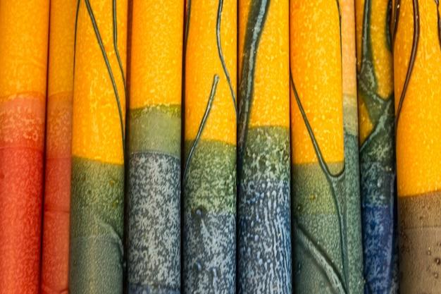 Close-up da cortina colorida