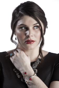 Close-up da imagem do rosto de uma modelo feminina branca