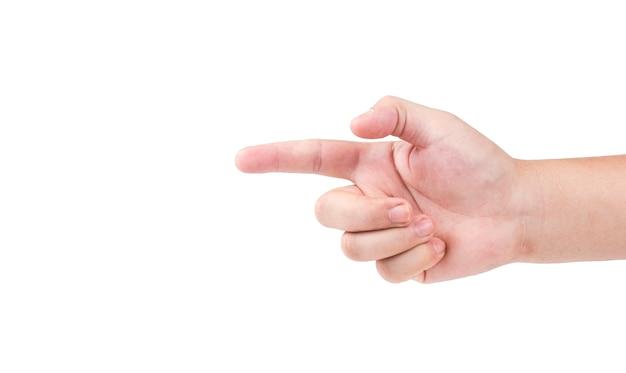 Close up da mão apontando isolado no branco