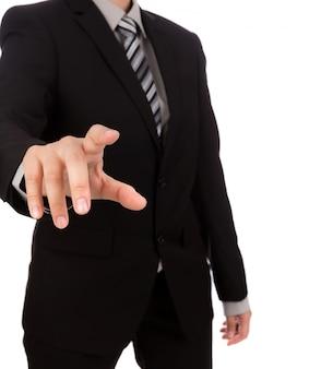 Close-up da mão apontando para algo