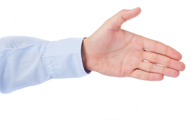 Close-up da mão pronto para fechar um acordo