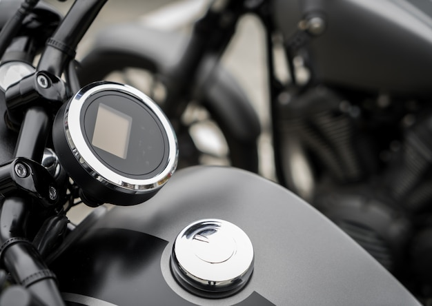 Close up da motocicleta do vintage