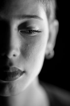 Close-up da mulher triste