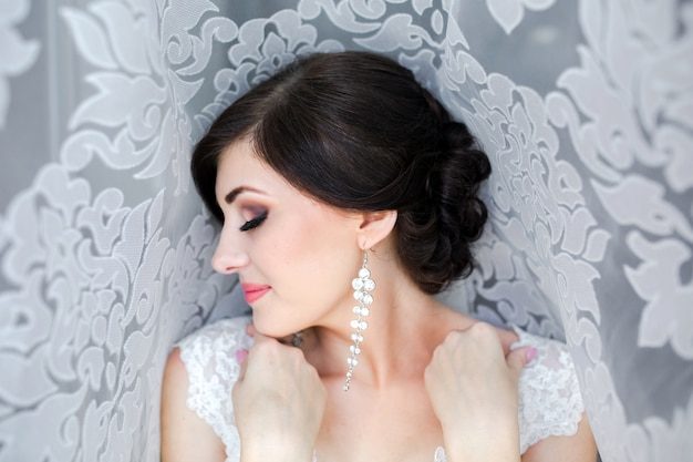 Close-up da noiva bonita