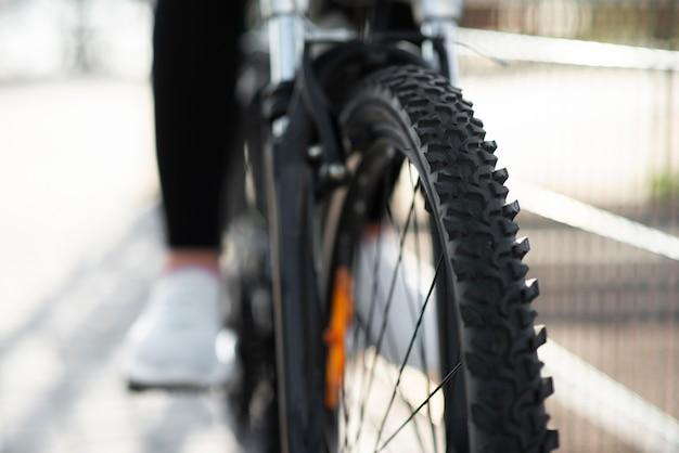 Close-up da roda da bicicleta