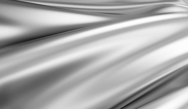Close-up da visualização em tecido de seda prateado ondulado em renderização 3d