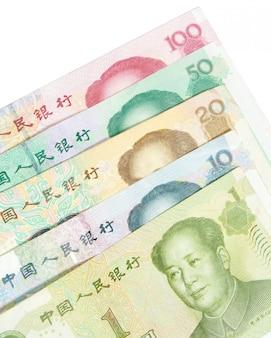 Close-up de 1 20 50 100 notas chinesas