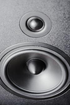 Close up de alto-falantes de alta e baixa frequência, alto-falante de membrana