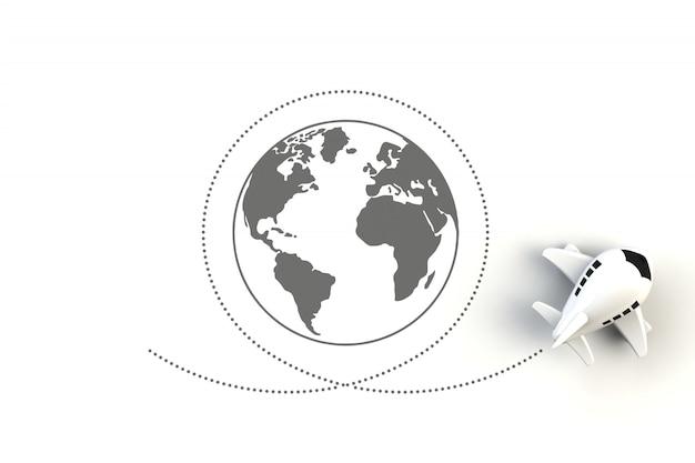 Close-up de avião voando ao redor da ilustração do conceito de mundo em fundo branco
