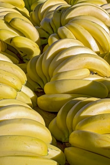 Close-up de bando de banana na tenda do mercado de rua