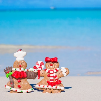 Close-up de biscoitos de gengibre de natal em uma praia de areia branca