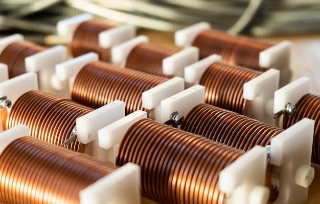 Close-up de bobinas de fio de cobre trançado