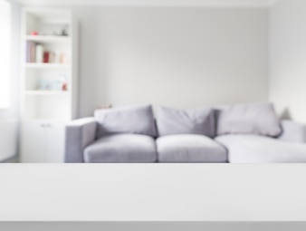 Close-up, de, branca, tabela, frente, defocused, sofá