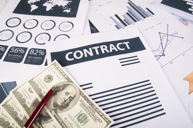 Close up de business money graphs e charts.business conceito.